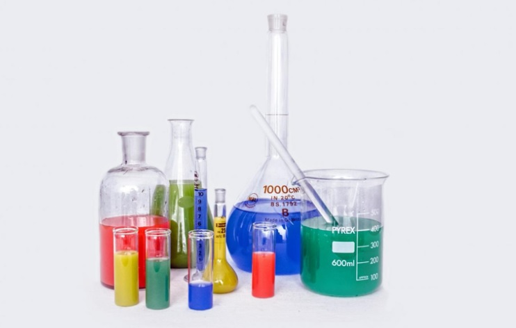 chemicals and glassware
